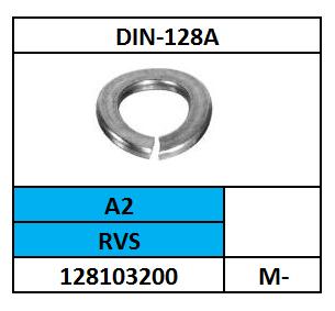 D128A-VEERRING-GEGOLFD/RVS-A2/M-10