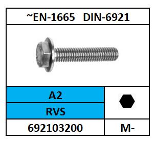 ZESKANTFLENSBOUT M-5X20 ROESTVASTSTAAL A2 DIN 6921