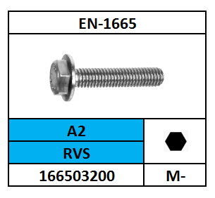 EN-1665 ZESKANTFLENSBOUT RVS A2 10X50