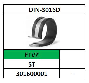 ~D3016D/LEIDINGBEUGEL PCLIP+INLAGE/W1-ST-ELVZ+RUBBER-ZWART/D22,2-23,8X16