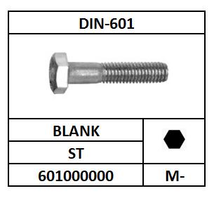 DIN 601 ZESKANTBOUT STAAL BLANK 16X80