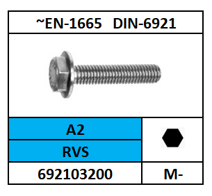 DIN 6921 ZESKANTFLENSBOUT RVS A2 8X25