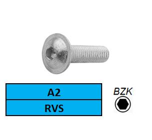 LAGE BOLKOPSCHROEF+FLENS-BINNENZESKANT M-3X6 ROESTVASTSTAAL A2 ISO 7380-2