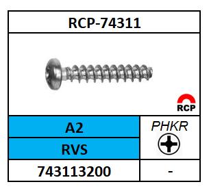 PT SCHROEF 30°-PHILLIPSKRUIS-PANCK 2,5X8 ROESTVASTSTAAL A2 A74311