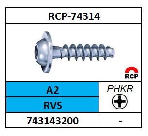 PT SCHROEF 30°-PHILLIPSKRUIS-LBKFL 3X8 ROESTVASTSTAAL A2 A74314