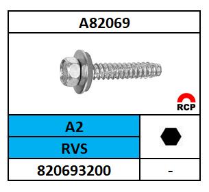 A82169/GEVELSCHROEF 6K-P#B+RING/RVS-A2/R16-6,3X19