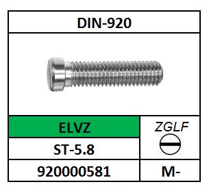 CILINDERBORSTSCHROEF-ZAAGGLEUF M-3X3 STAAL VERZINKT DIN 920