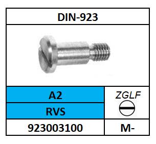 CILINDERBORSTSCHROEF-ZAAGGLEUF M-3X3 ROESTVASTSTAAL A2 DIN 923