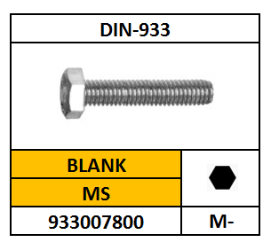 DIN 933 TAPBOUT MESSING 10X45