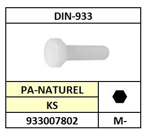 DIN 933 TAPBOUT KUNSTSTOF PA NATUREL 5X20