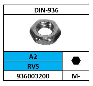 D936/LAGE ZESKANTMOER/RVS-A2/M-8